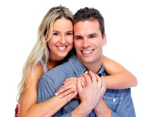 Happy Loving couple isolated over white background.